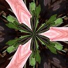 Green Flower in River of Pink by Sherry Durkin