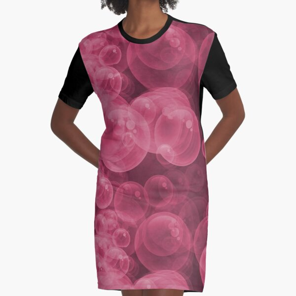 Large Pink Water Air Bubbles Graphic T-Shirt Dress