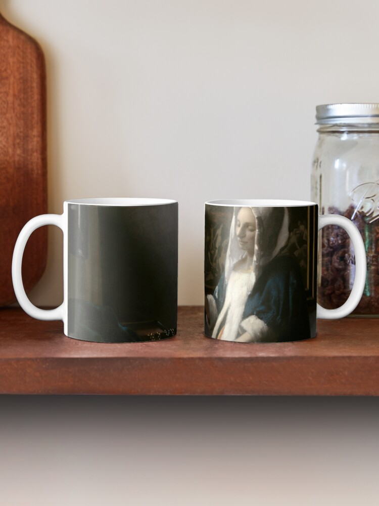 Alternate view of Woman Holding a Balance Oil Painting by Johannes Vermeer Mug