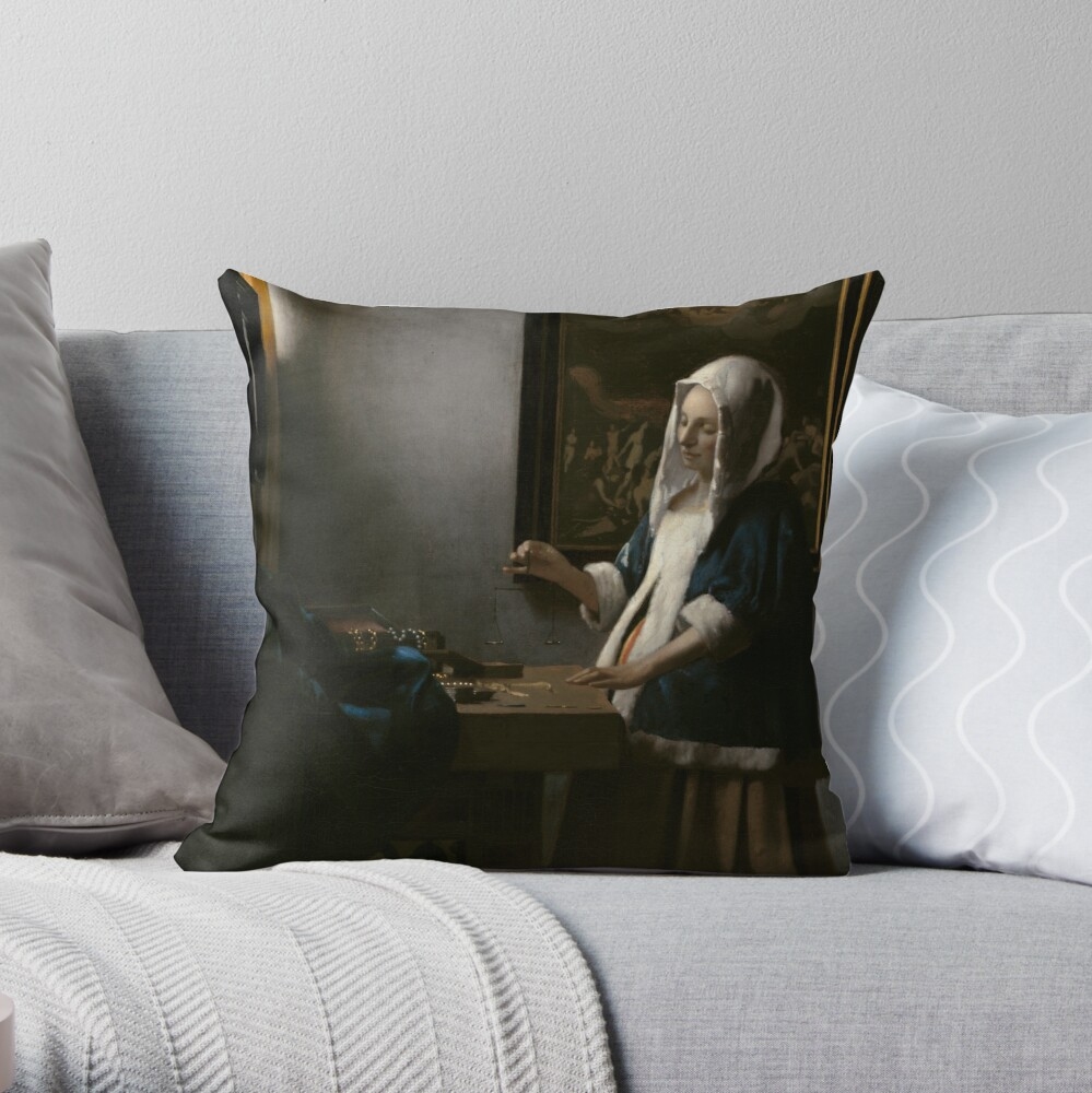 Woman Holding a Balance Oil Painting by Johannes Vermeer Throw Pillow