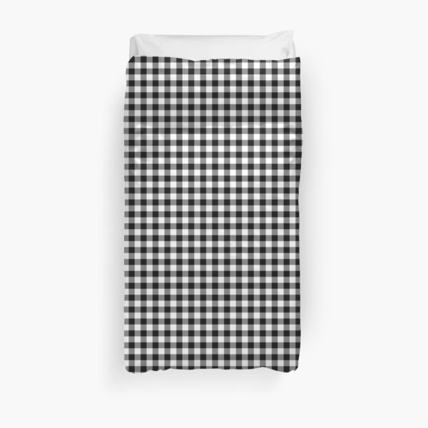 Mini Black and White Western Cowboy Buffalo Check Gingham Duvet Cover