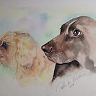 2 Dogs Pets by Pasha Watercolour Pet Portrait by goddamnmedia