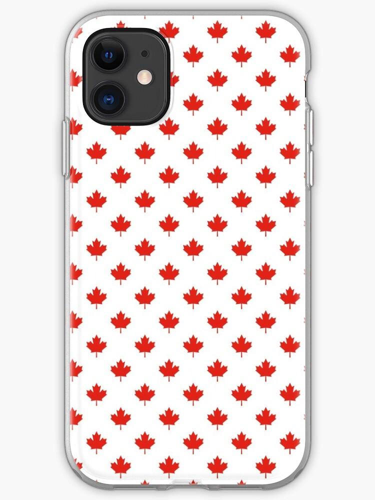 Dessin de petites feuilles d'érable canadien en mosaïque   Coque iPhone
