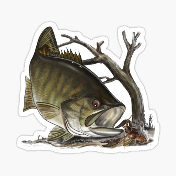 Smallmouth Bass - Digital drawing by (ANTARTOUTDOORS) Sticker