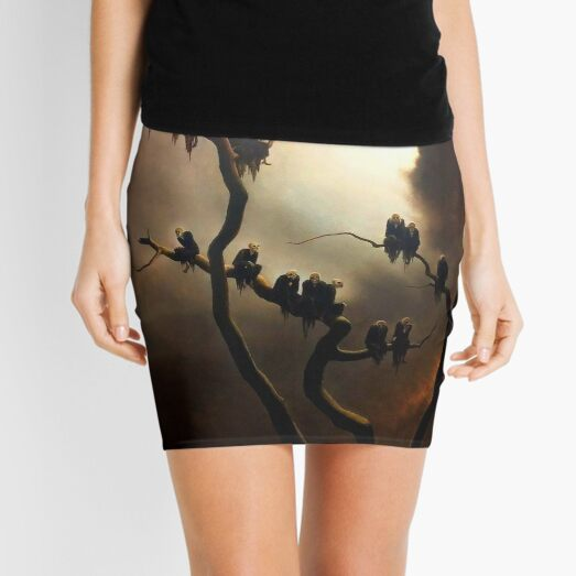 Vivid Retro - Ghosts in a Tree Mini Skirt