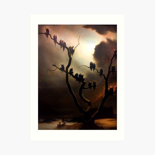 inquietantes figuras de fantasmas sentados en un árbol Lámina artística