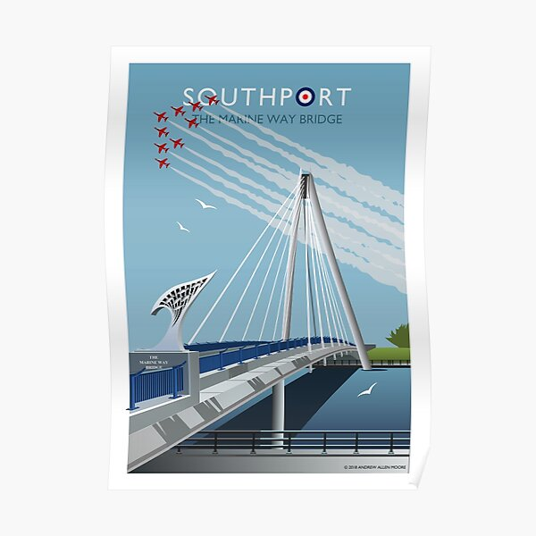 Red Arrows at Southport Marine Way Bridge Poster