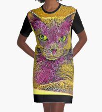 CAT ART PINKGELB T-Shirt Kleid