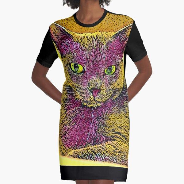 CAT ART PINKGELB T-Shirt Kleid
