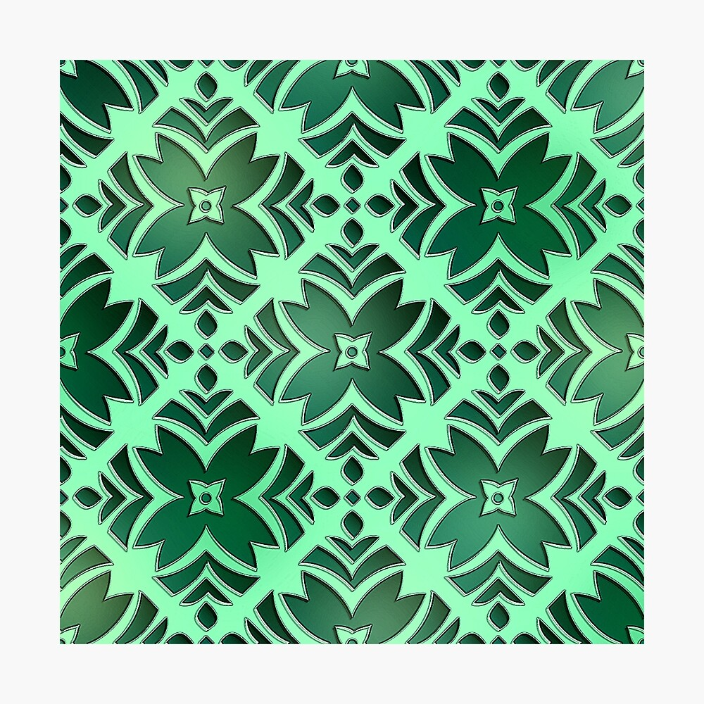 Emerald Green and Jade Green Floral Abstract Photographic Print