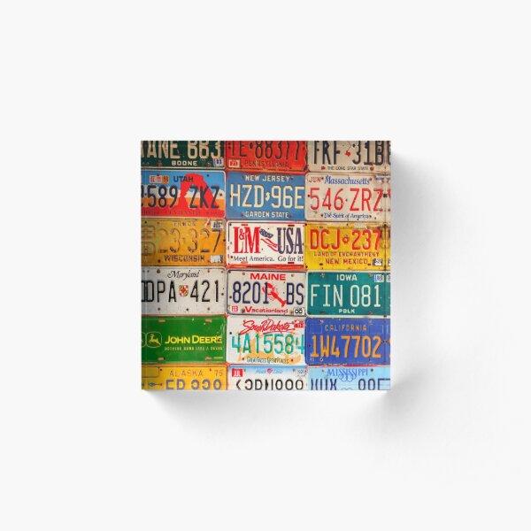 United States License Plates Art America Acrylic Block