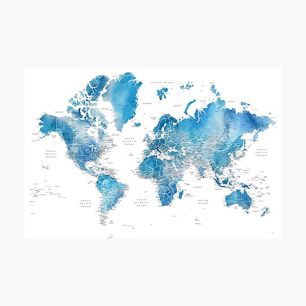 Blue watercolor world map with US state capitals Photographic Print