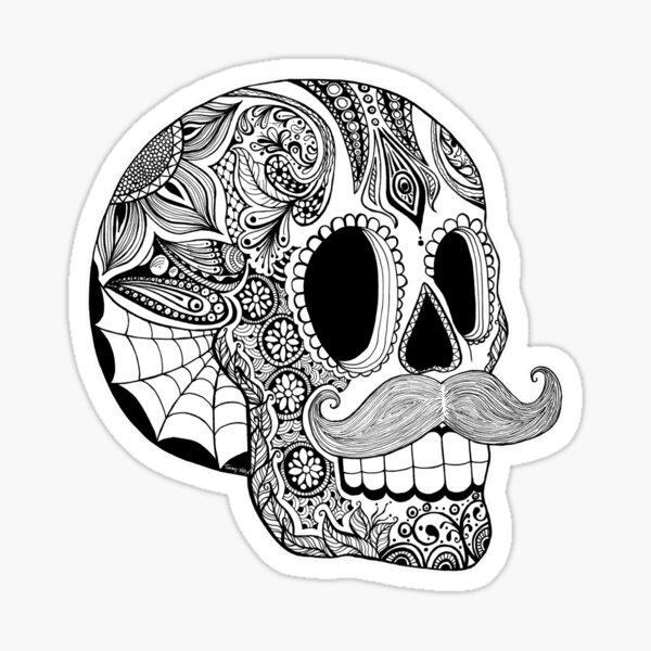 Mustache Sugar Skull (Black & White) Sticker