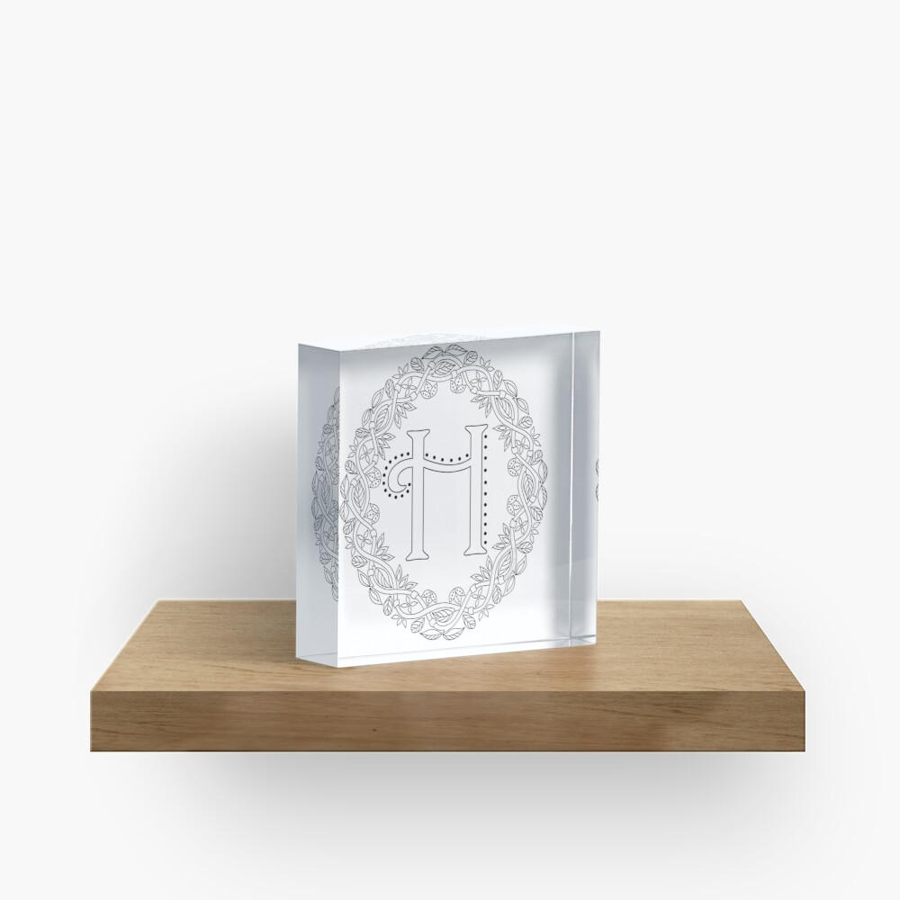 Letter H Black And White Wreath Monogram Initial Acrylic Block