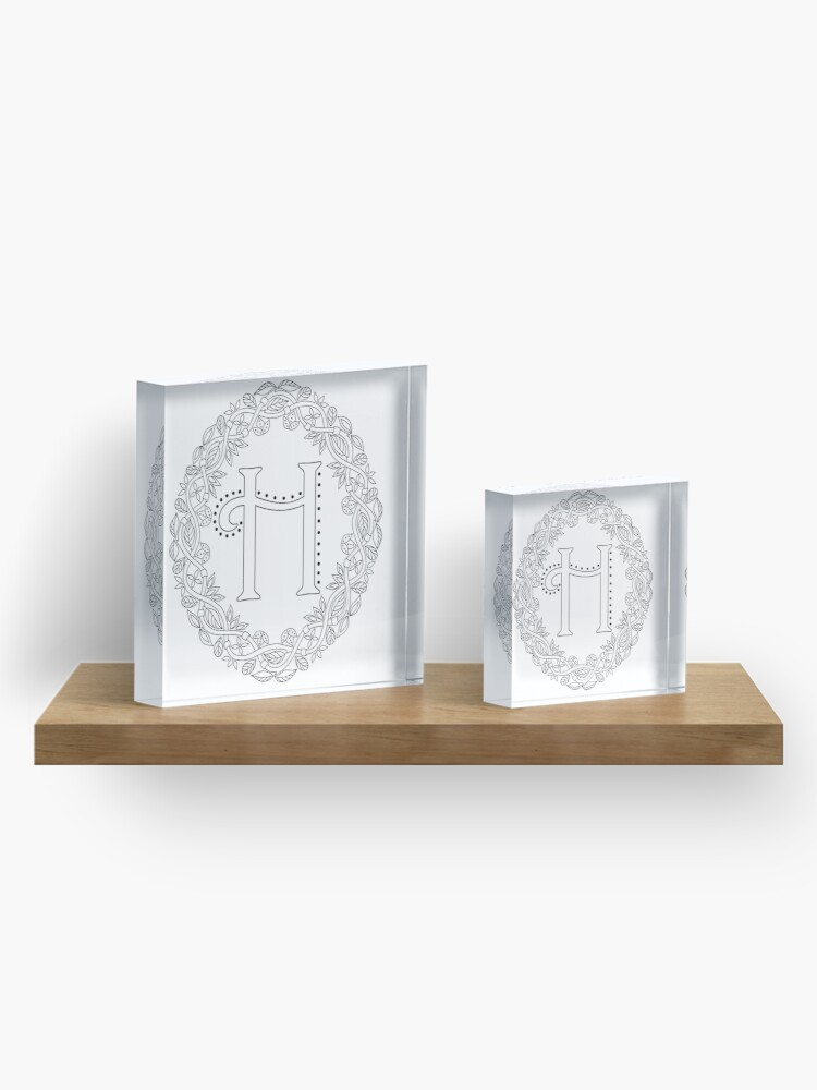 Alternate view of Letter H Black And White Wreath Monogram Initial Acrylic Block