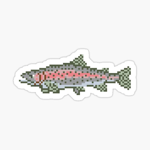 Trophy Rainbow Trout Sticker - Pixel Art Fly Fishing Sticker