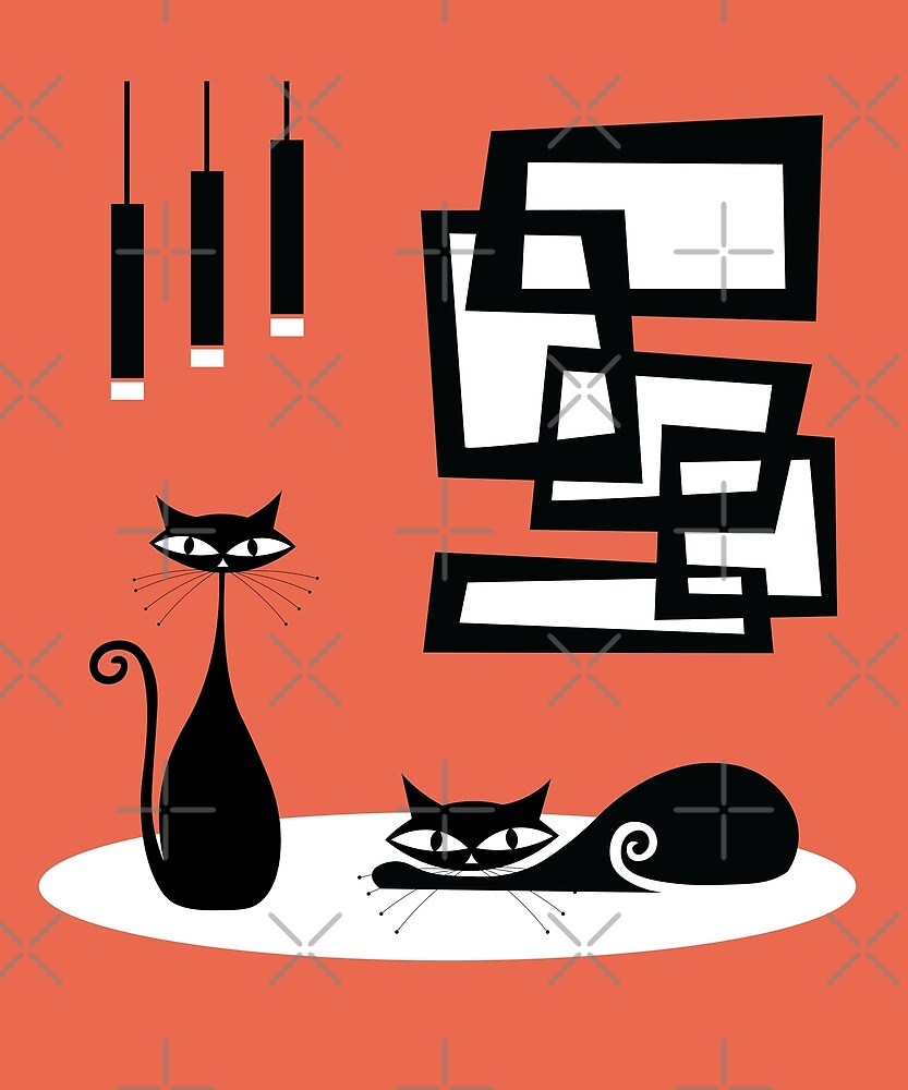 Mid Century Modern Cats and Atomic Art by jetblackyak