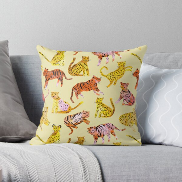 Tigers and Leopards Africa Savannah Throw Pillow