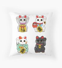 Lucky Cat / Maneki Neko Throw Pillow