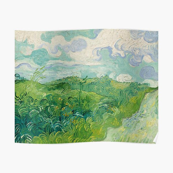 Green Wheat Fields, Auvers, Vincent van Gogh Poster