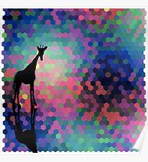 Geometric Giraffe Current Trend Bright  Poster
