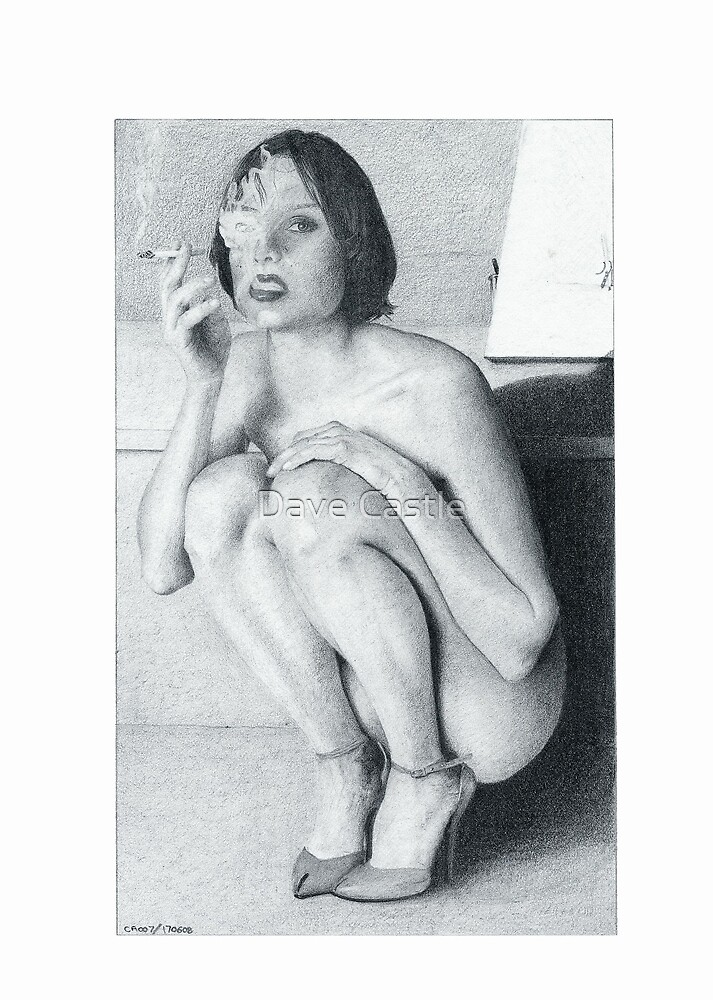 """Drawing"" The smoking girl by Dave Castle"
