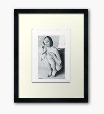 """Drawing"" The smoking girl Framed Print"