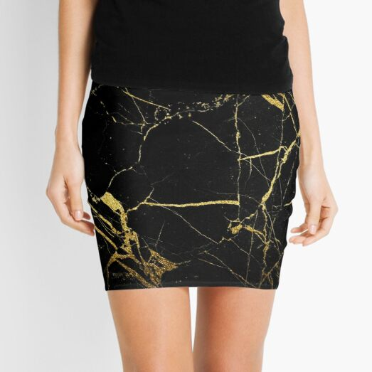 Marble of Black and Gold Mini Skirt