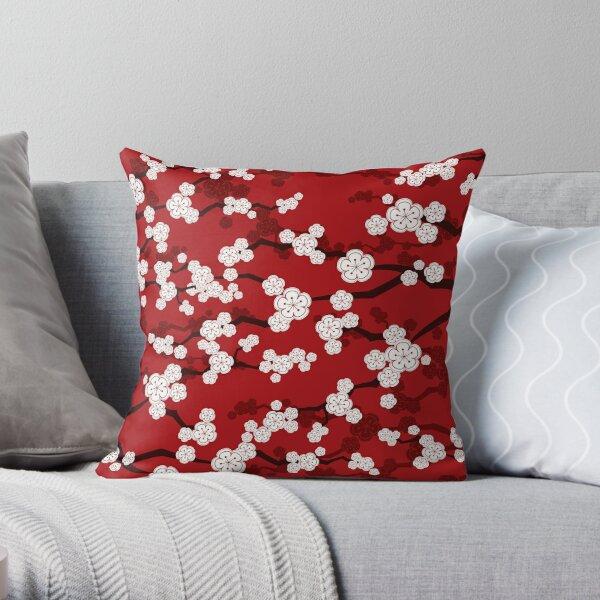 White Oriental Cherry Blossoms On Red   Zen Japanese Sakura Flowers Throw Pillow
