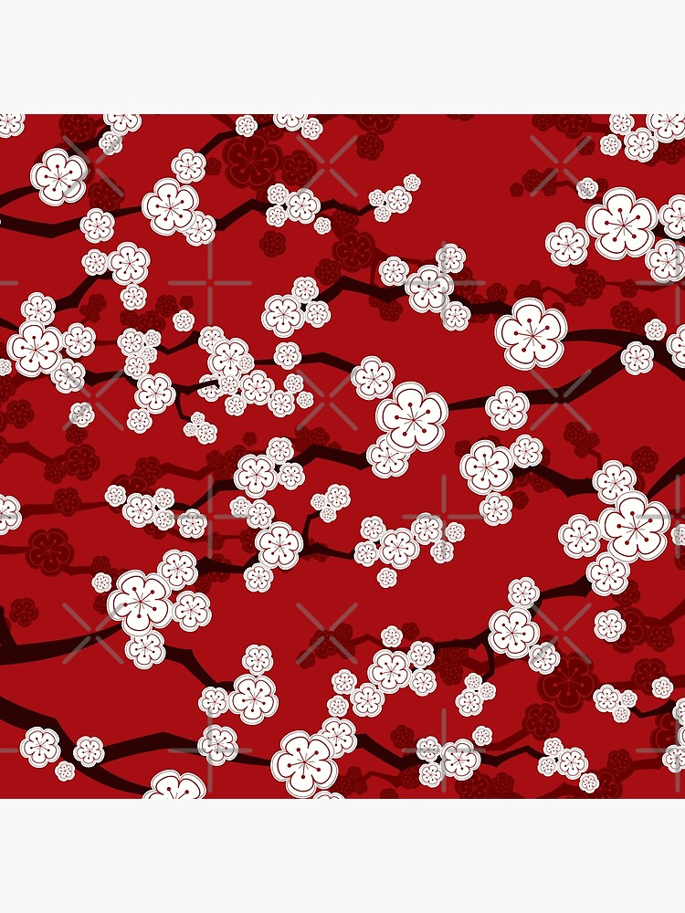 White Oriental Cherry Blossoms On Red | Zen Japanese Sakura Flowers by fatfatin