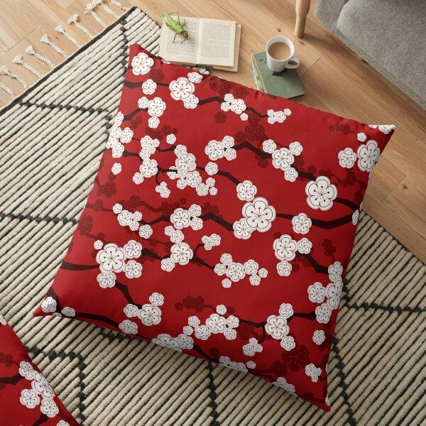 White Oriental Cherry Blossoms On Red | Zen Japanese Sakura Flowers Floor Pillow