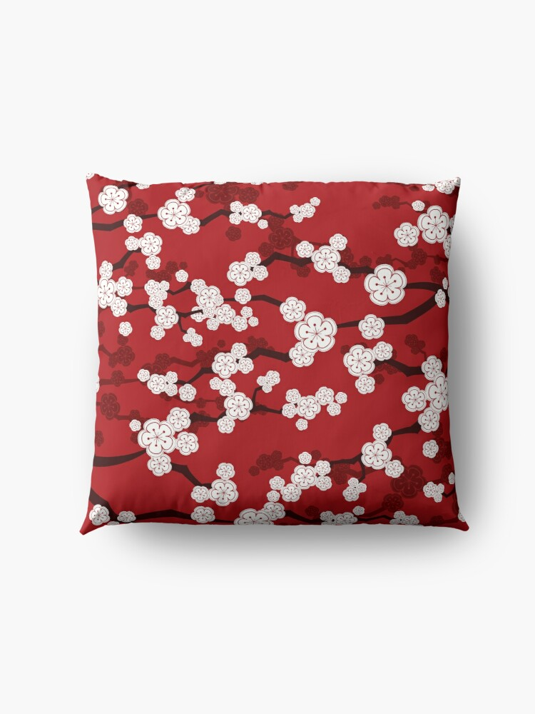 Alternate view of White Oriental Cherry Blossoms On Red | Zen Japanese Sakura Flowers Floor Pillow