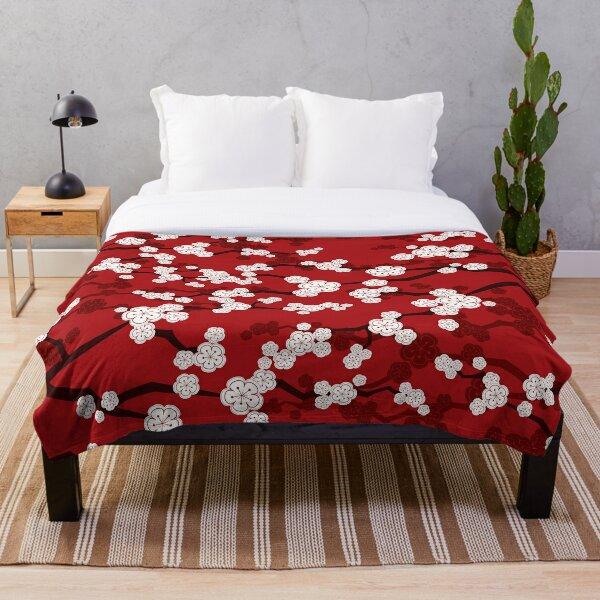 White Oriental Cherry Blossoms On Red | Zen Japanese Sakura Flowers Throw Blanket