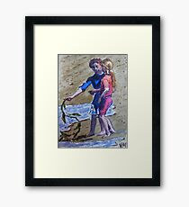 Kids Playing on the Beach Framed Print