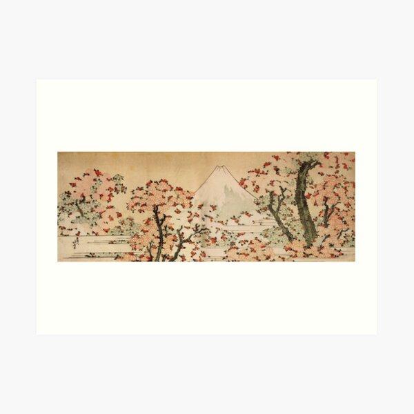 'Mount Fuji Behind Cherry Tree and Flowers' by Katsushika Hokusai (Reproduction) Art Print