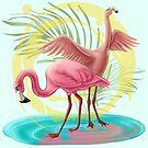 Two Flamingos by Unicornarama