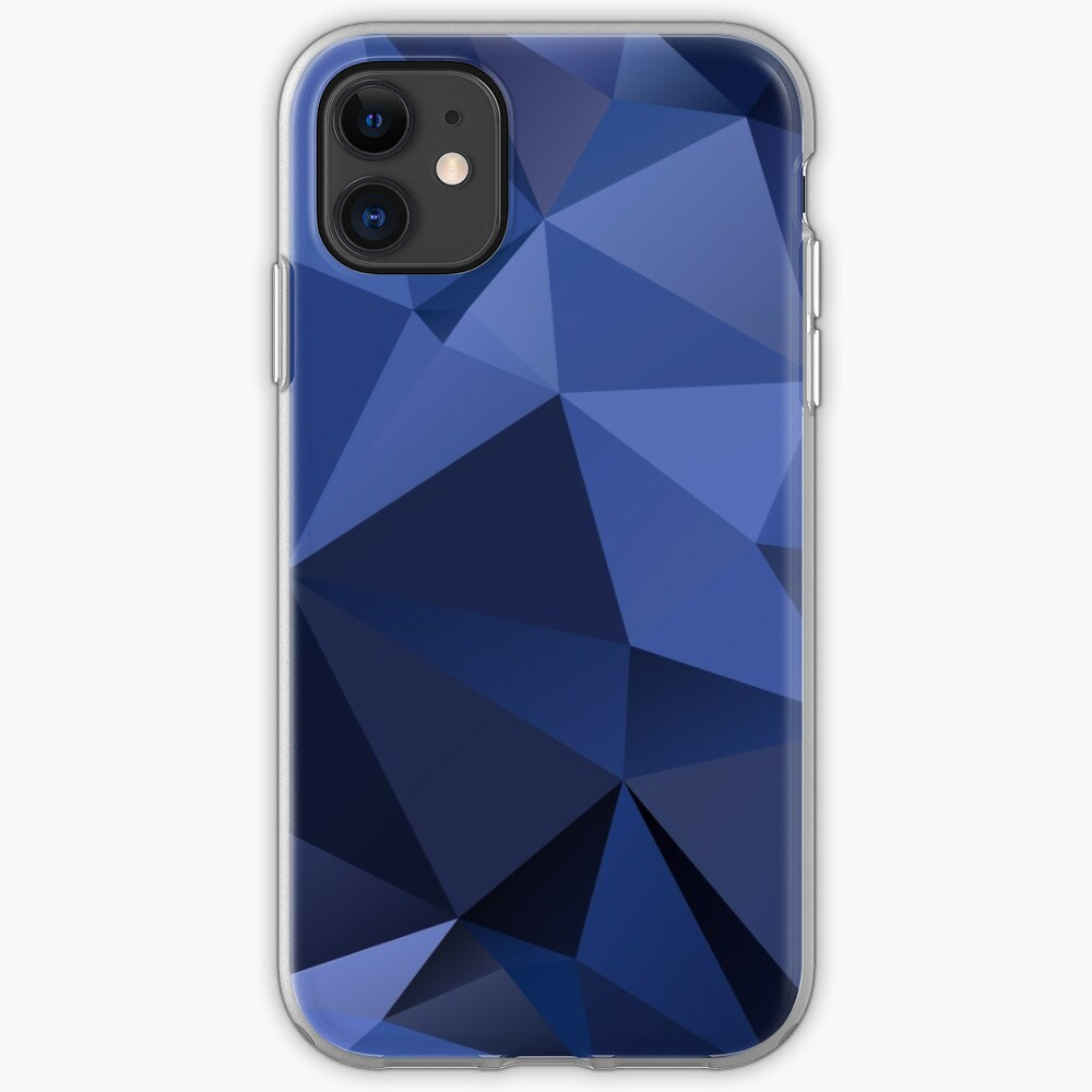 Abstract Background Of Triangles Polygon Wallpaper In Navy Blue Colors Iphone Case Cover