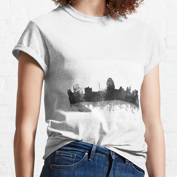 San Antonio Texas Basketball Fan City Skyline Classic Script Long Sleeve T-Shirt