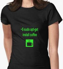 Linux sudo apt-get install coffee Women's Fitted T-Shirt