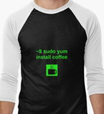 Linux sudo yum install coffee Men's Baseball ¾ T-Shirt