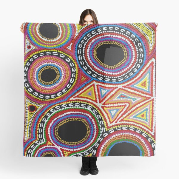 #461 - NATHALIE LE RICHE - ART and GIFTS - ABSTRACT COLOURFUL DOTS SHELLS - Masia Beauty Scarf