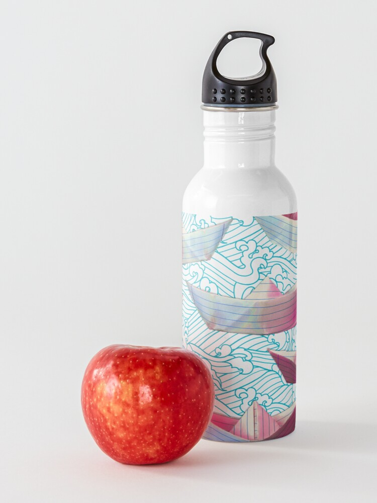 Alternate view of Japanese waves and paper boats Water Bottle