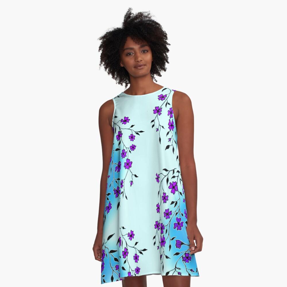 Purple Blooms  A-Line Dress