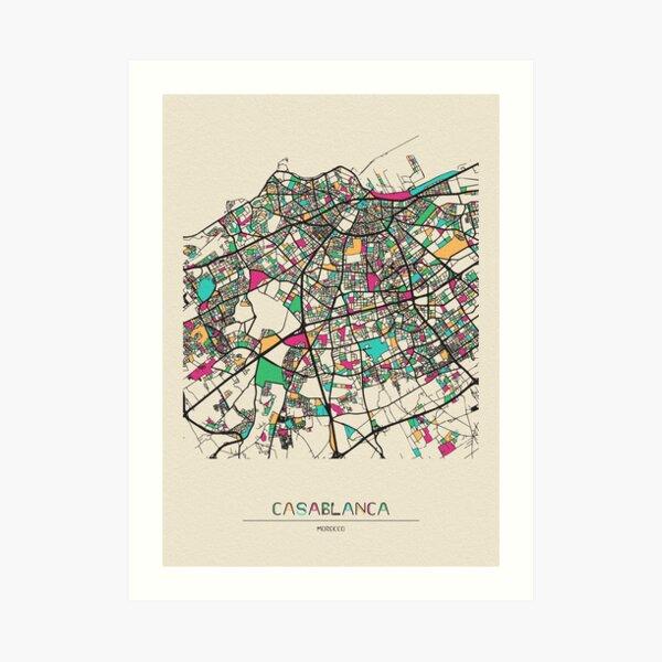 Casablanca, Morocco Street Map Art Print