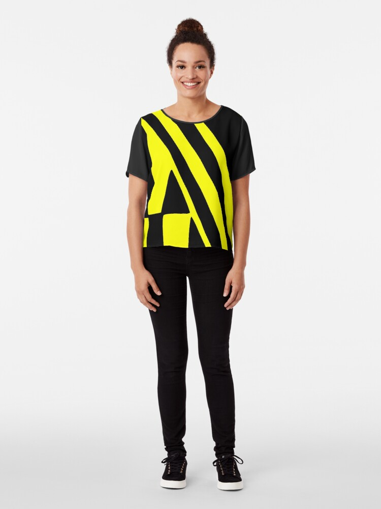 Alternate view of BLACK and YELLOW DAZZLE Chiffon Top