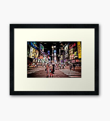 Nightlife on Times Square in Manhattan, NYC Framed Print