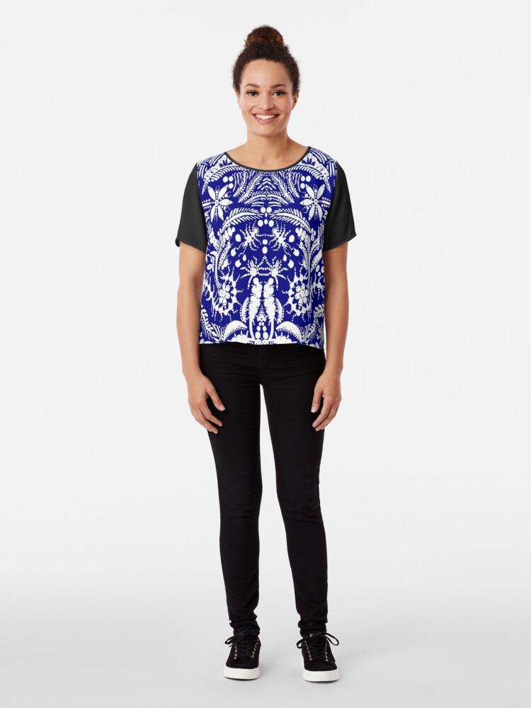 Alternate view of White and Blue Jungle Chiffon Top