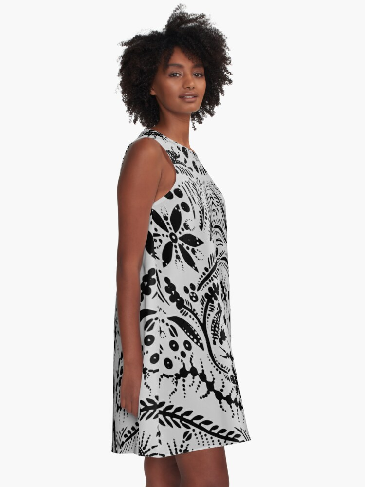 Alternate view of Black and Gray Jungle A-Line Dress