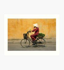 Returning from the market, Vietnam Art Print