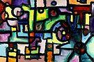 Like Clockwork, abstract oil on canvas by Regina Valluzzi